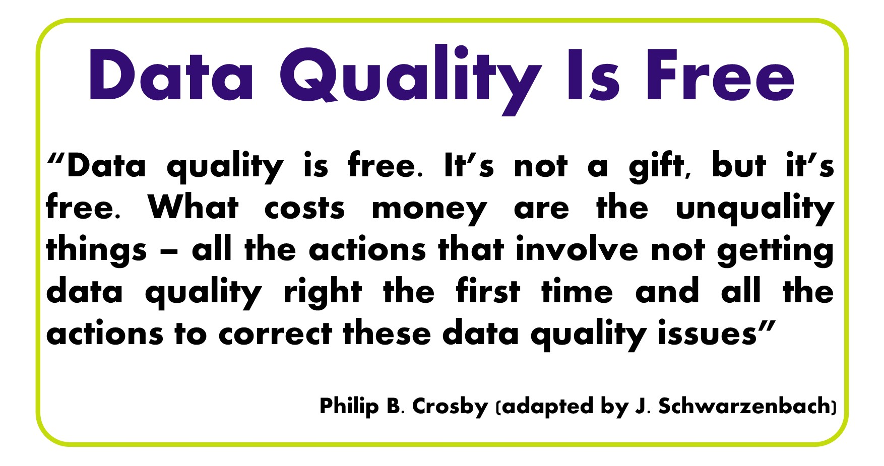 Data quality is free