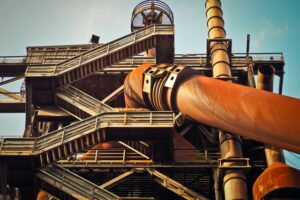 Pipework and stairs at steelworks